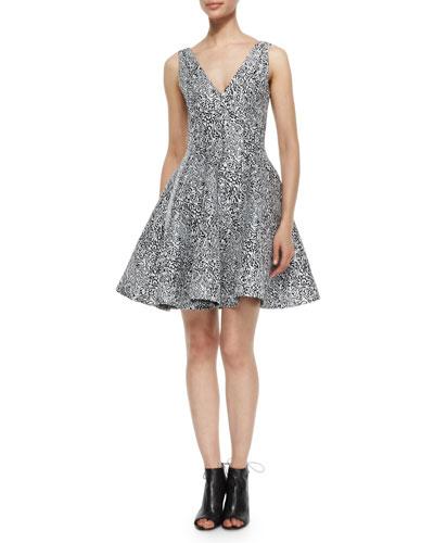 Cabbage Jacquard Flare Dress