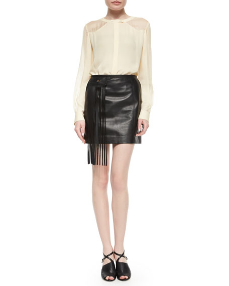 tamara mellon lambskin leather mini skirt w fringe pocket