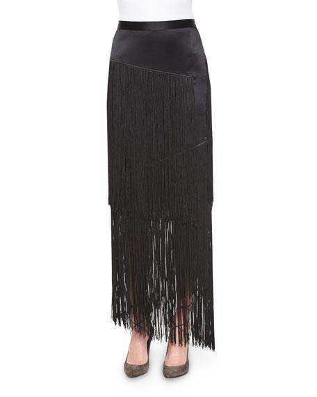 Tamara Mellon Silk Layered Fringe Skirt, Black