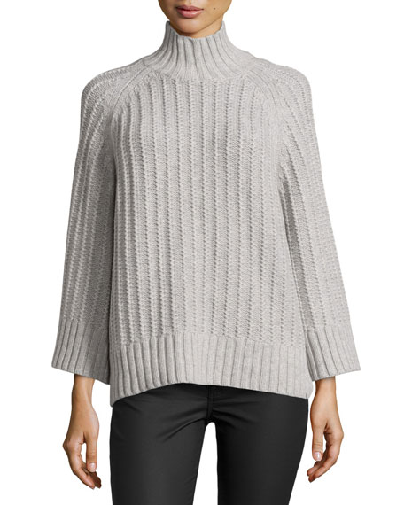 Ribbed Shaker-Knit Sweater, Heather Gray