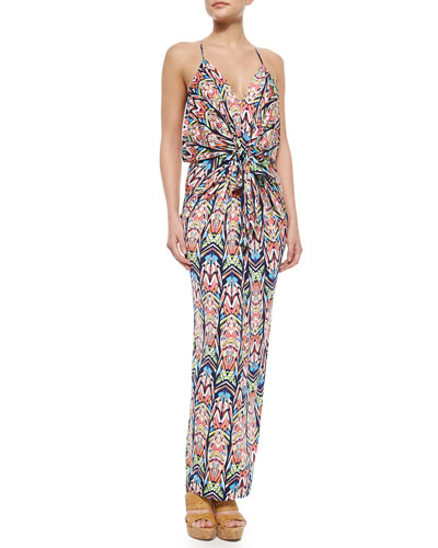 Knotted Feather Maxi Dress, Multicolor