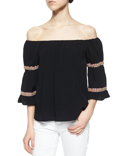 Boho Off-the-Shoulder Knit Blouse, Black