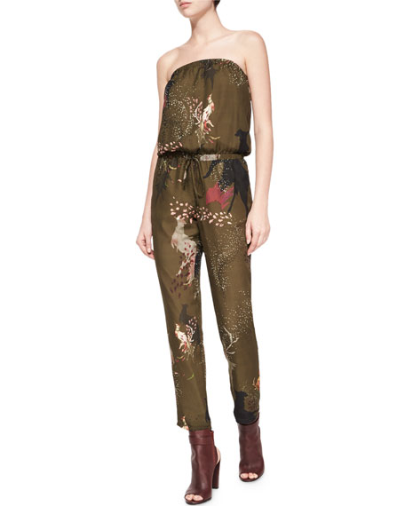 Haute Hippie Birds-of-Paradise Strapless Silk Jumpsuit