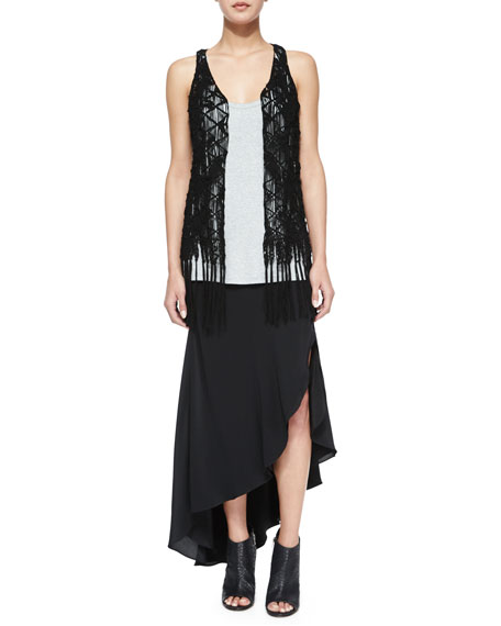 Haute Hippie Asymmetric Silk Skirt with Leather Belt