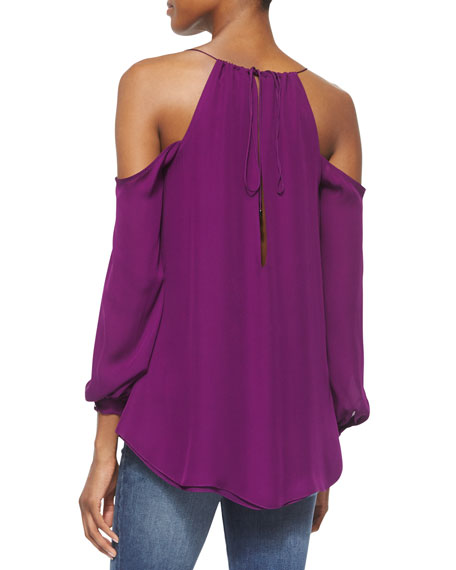 Cold-Shoulder Long-Sleeve Blouse