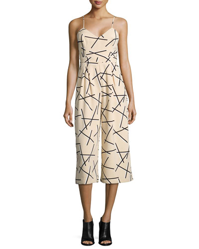Power Trip Linear Jumpsuit, Beige