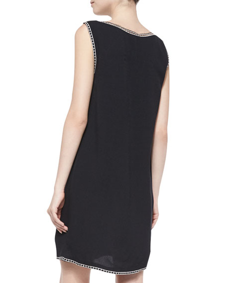 Sleeveless Embroidered Shift Dress, Black