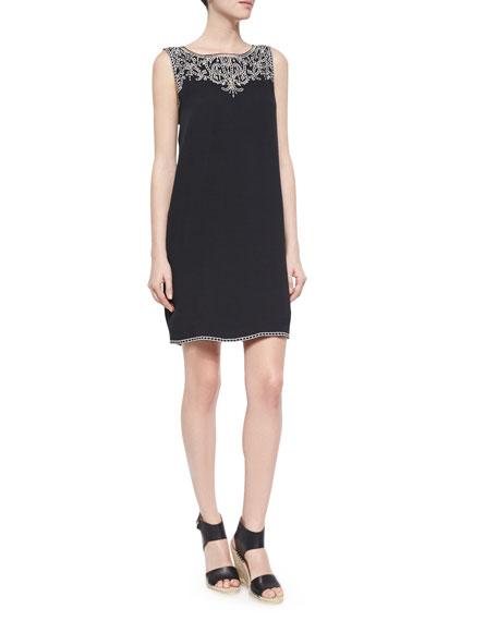 Ella Moss Sleeveless Embroidered Shift Dress, Black