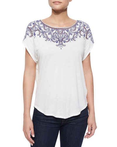 Rica Embroidered-Front Jersey Tee, White