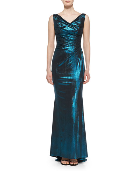 Talbot Runhof Colly Frosted Pleated Jersey Gown