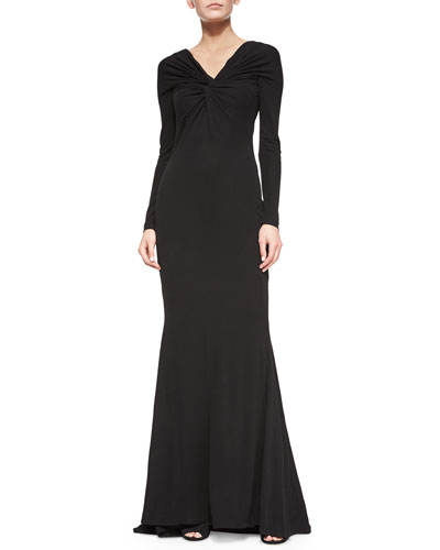 Homie Twisted V-Neck Stretch-Crepe Gown