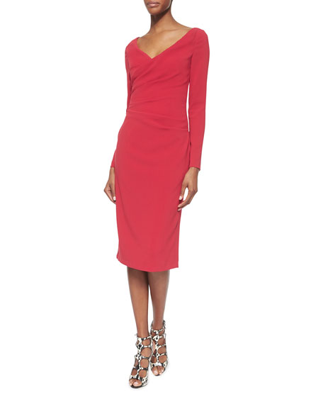 Talbot Runhof Torero Ruched Crepe Sheath Dress