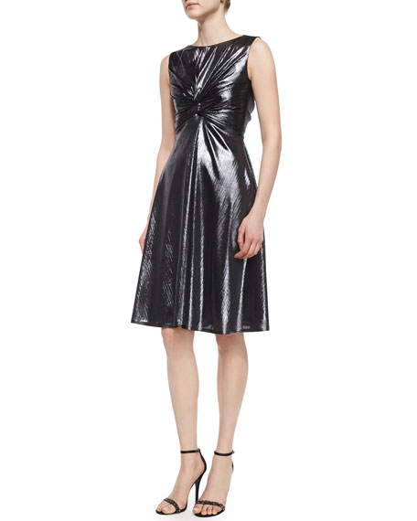Talbot Runhof Honore Frosted Knotted Ruched A-Line Dress