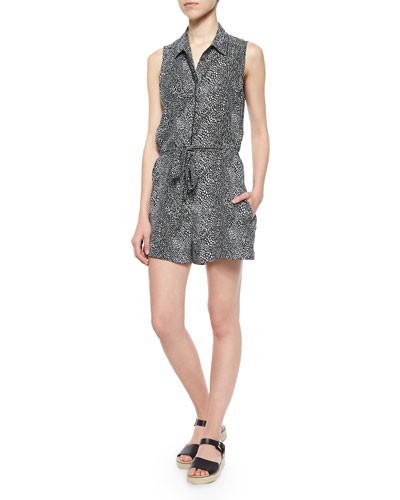 Sleeveless Galuchat Earl Romper, True Black