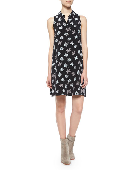 Sleeveless Mina Floral Shirtdress, True Black