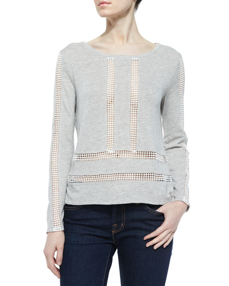 Guipure Combination Sweatshirt, Gray/White