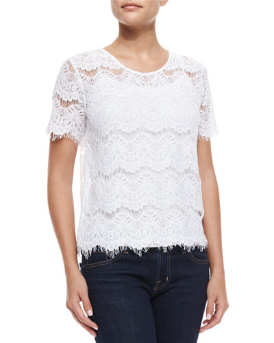 Short-Sleeve Lace Maria Tee, White