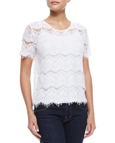 Short-Sleeve Lace Maria Tee, White