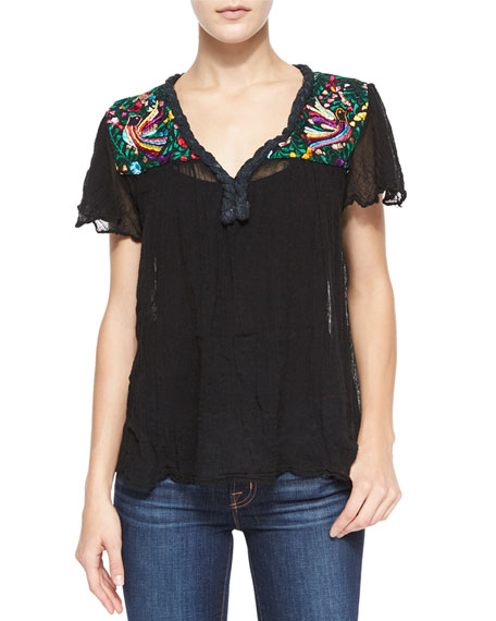 Golden by Jen Rossi Belen Short-Sleeve Paradise-Embroidered