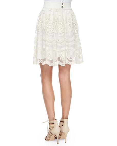 Tesoro Lace-Trim A-Line Skirt, Natural