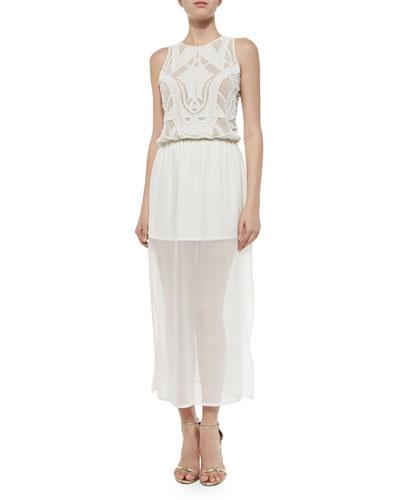 Emma Silk Beaded Maxi Dress, White