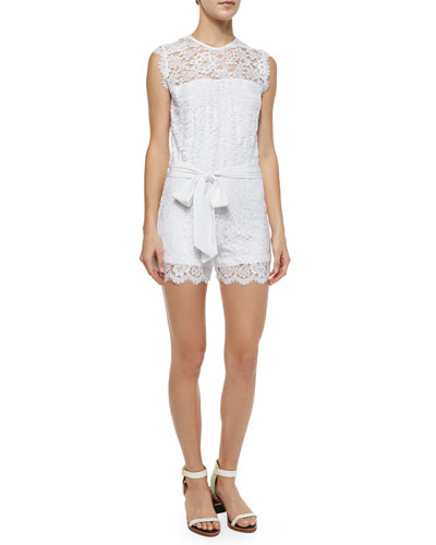 Ariande Sleeveless Lace Romper, White