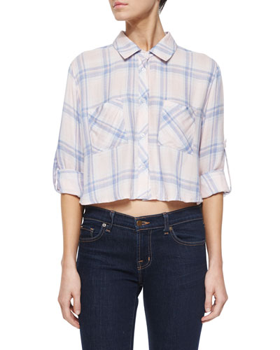 Rian Plaid Cropped Shirt, Pink/Blue Melange
