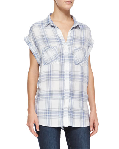 Britt Cap-Sleeve Woven Plaid Shirt, White/Blue Melange