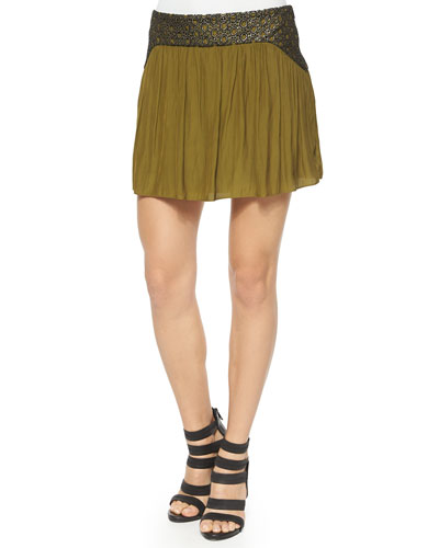 Gemma Skirt w/ Faux-Leather Trim, Olive