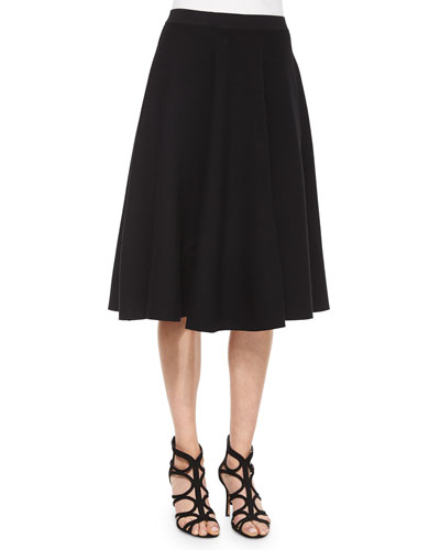 Pleated A-Line Skirt, Black