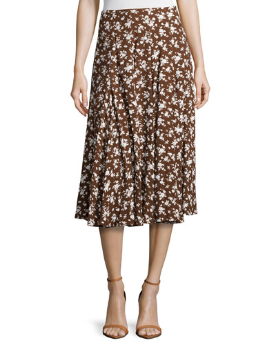 Floral-Print Dance Skirt, Nutmeg/White