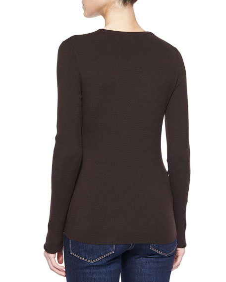 Long-Sleeve Fitted Sweater, Chocolate