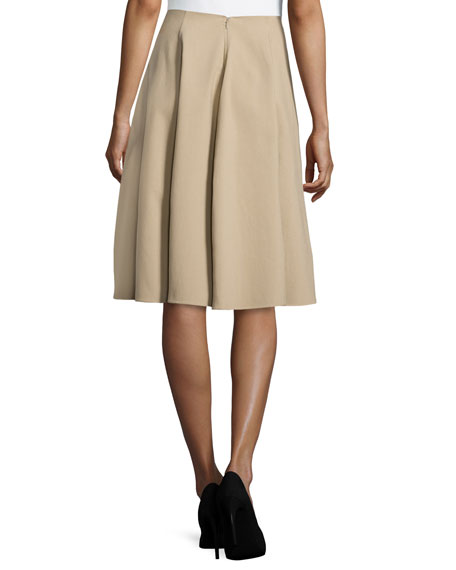 michael kors collection pleated circle skirt sand
