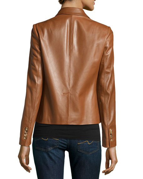 Three-Button Leather Jacket, Luggage