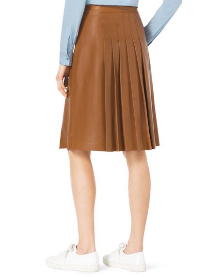 Knee-Length Pleated Leather Skirt
