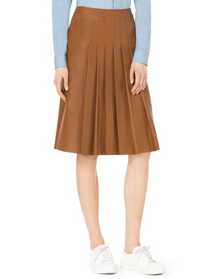 Michael Kors Collection Knee-Length Pleated Leather Skirt