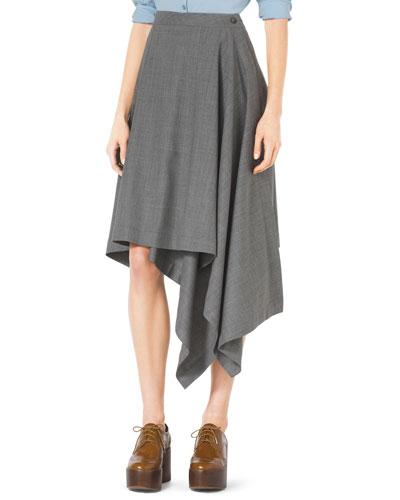 Asymmetric Draped Stretch-Wool Skirt