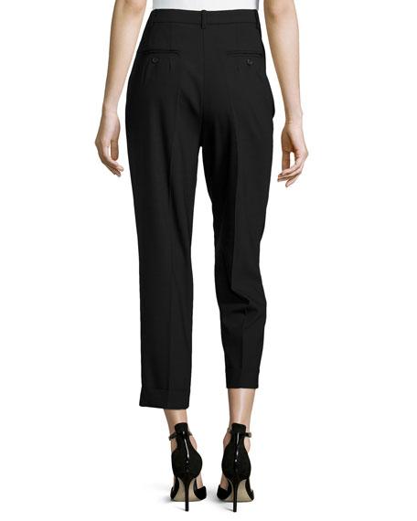 Slim Pleated Cuff Pants, Black