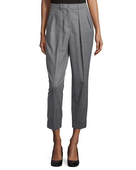 Slim Pleated Cuff Pants, Banker