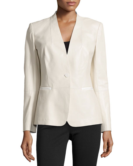 Clary Tissue Weight Leather Jacket, Oyster