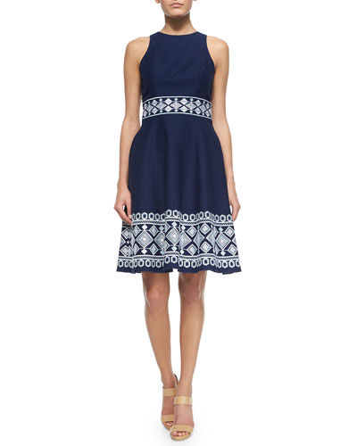 Sleeveless Embroidered Fit & Flare Dress