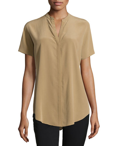 Pleat-Back Short-Sleeve Blouse, Chai