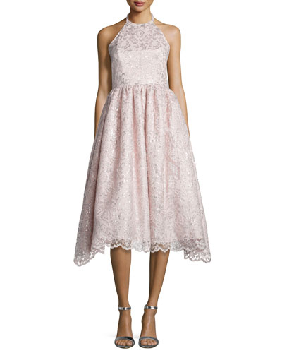 Halter-Neck Metallic Lace Dress, Blush
