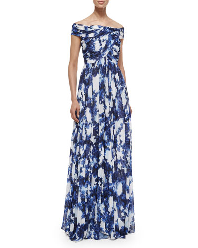 Arizona Off-the-Shoulder Printed Flowy Gown