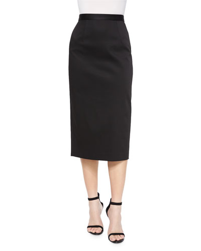 Stretch Ottoman Pencil Skirt, Jet