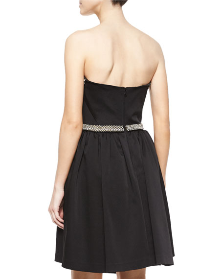 Strapless Beaded Party Dress, Jet