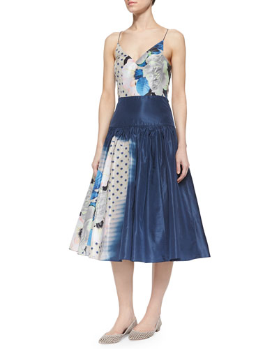 Sleeveless Multi-Print Tea-Length Frock