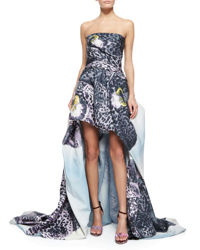 Strapless Orchid-Print Draped High-Low Gown