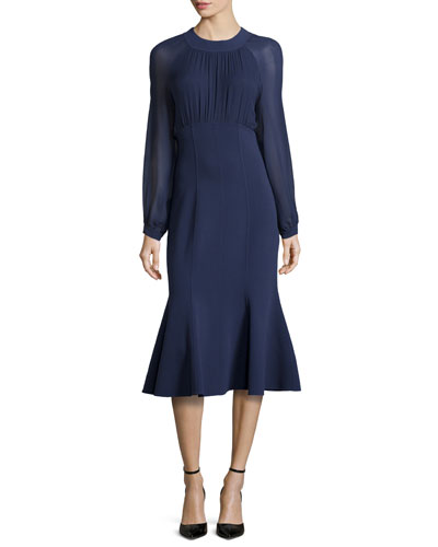 Ruched Front Flounce Dress, Indigo