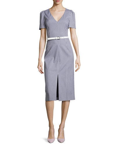 Short-Sleeve Sheath Dress, Optic White/Indigo